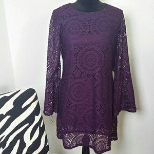 TACERA Deep Purple Lace Midi Dress Size M NWOT